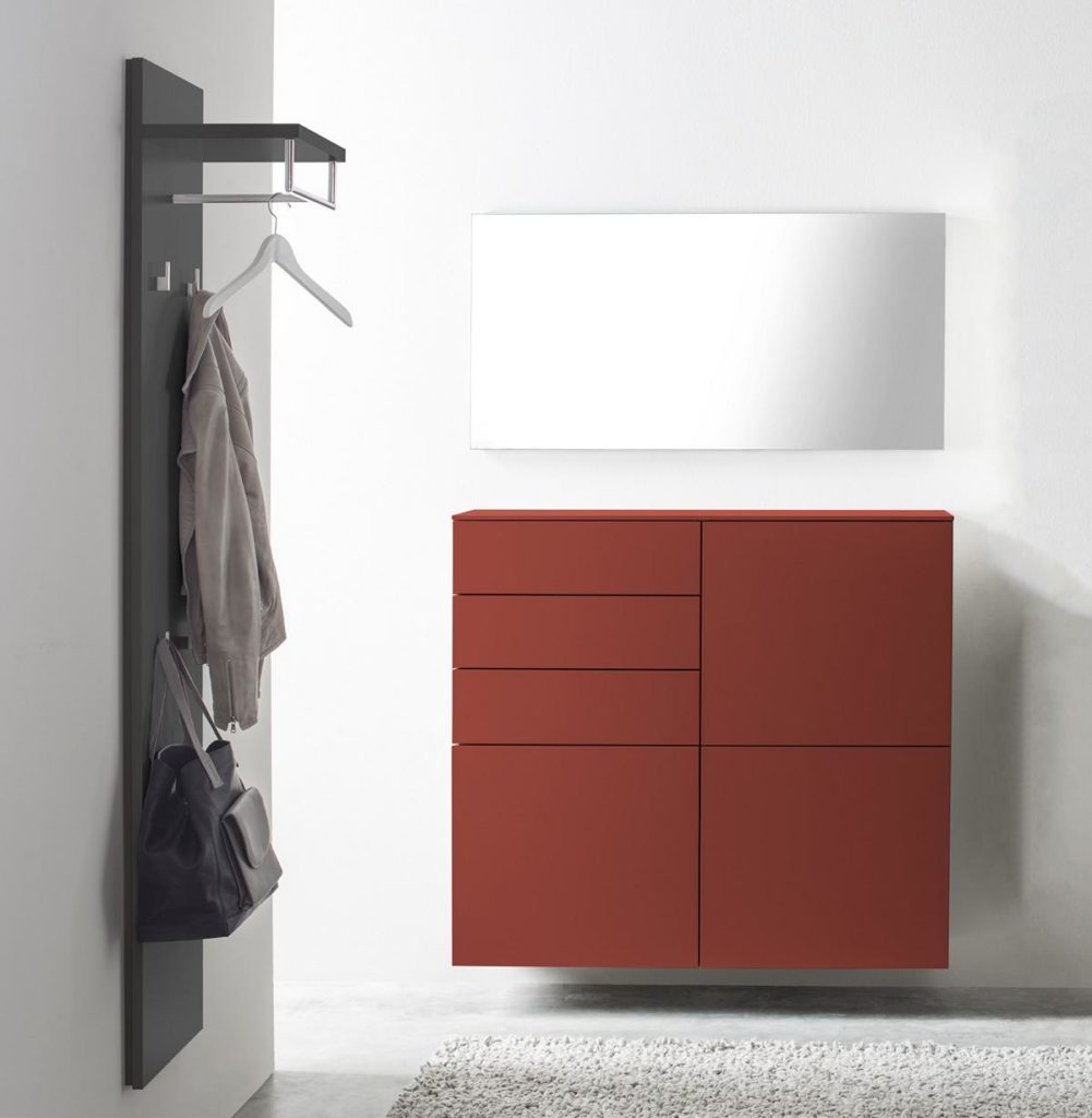 Sudbrock-Garderobe -Wandelement anthrazit - Sideboard rot