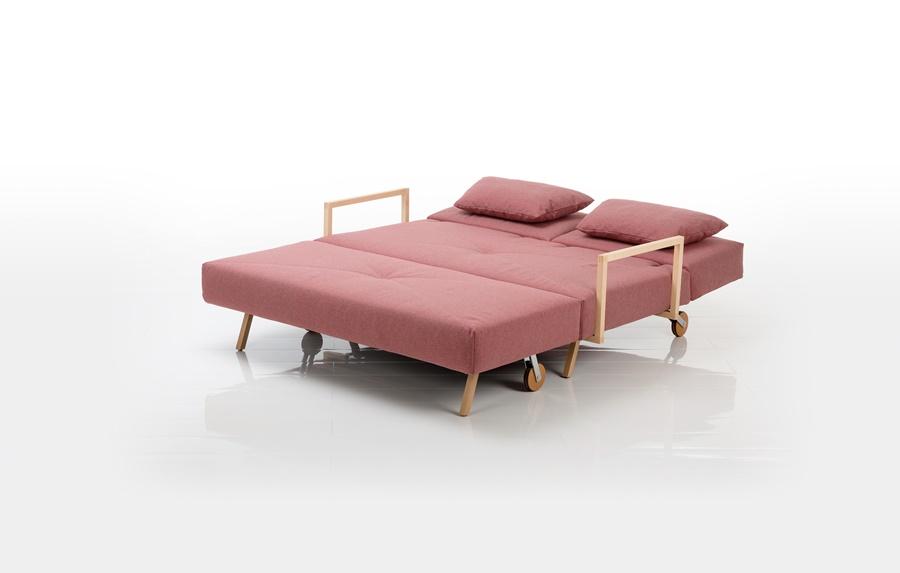 Brühl Wohn-Schlaf-Couch mit Rollen rosa Stoffbezug