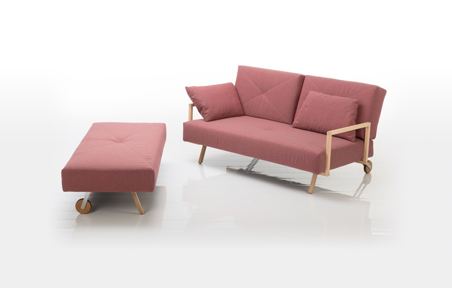 Brühl Wohn-Schlaf-Couch rosa Stoffbezug