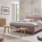 Hasena-Schlafzimmer-Einrichtung aus Holz -Bett rosefarbener Bezug