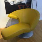 Möbel Weimer Hausausstellung -Designer-Sessel Maisgelb- Leder