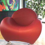 Möbel Weimer Hausausstellung Exravaganter roter Designer-Ledersessel