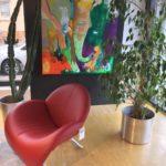 Möbel Weimer Hausausstellung - Roter Designer-Ledersessel