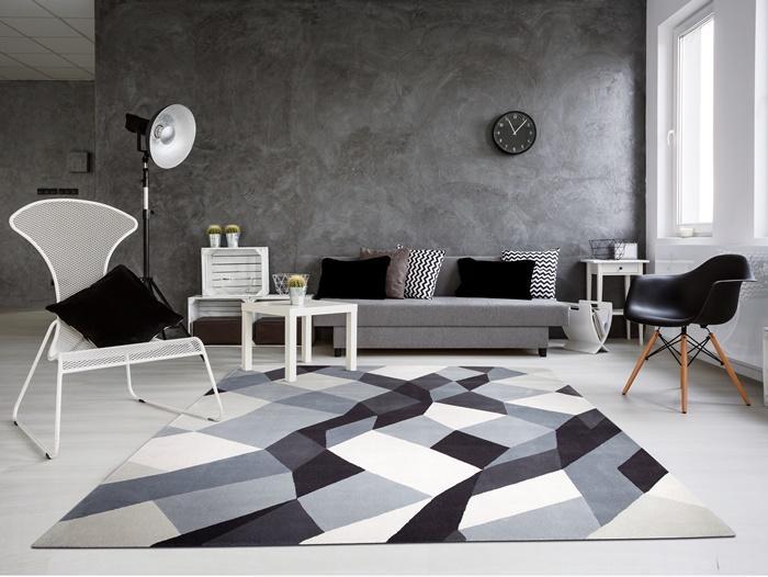 Teppich Braun Collection-Mosaik in verschiedenen Graustufen.