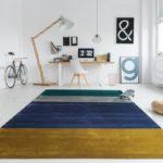 Arbeitszimmer mit Teppich - gestreift maisgelb-blau-grau-grün