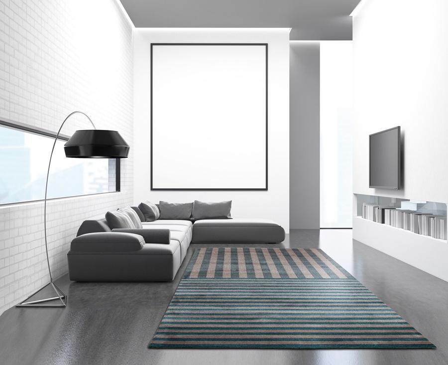 Wohnzimmer mit grau-braun-türkis gestreiftem Teppich Collection Braun