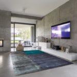 Fernsehwohnzimmer mit Fenster, Kamin und Betonwandeffekt. Ein schöner Teppich grau-blau-türkis liegt mitten im Raum.