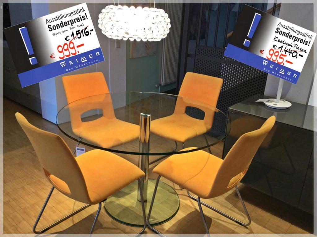 Essgruppe Esstisch Piazza und Stuhlgruppe BEN - Sonderpreis